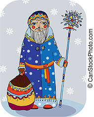 Grandfather Frost with a staff and a bag of gifts