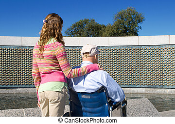 Grandfather Granddaughter Wheelchair WWII Memorial -...