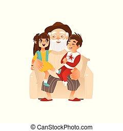 Grandfather holding grandkids, grandchildren on his knees,...
