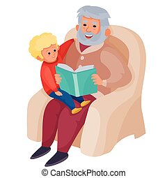 grandfather is sitting in a cozy large armchair and sitting on his lap inside, to whom he is reading a book of fairy tales, vector illustration,