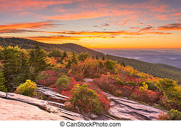 Grandfather Mountain, North Carolina, USA autumn dawn from Rough Ridge in the Blue Ridge Mountains