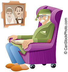 Grandfather - Old man, sleeping in his armchair with a book...