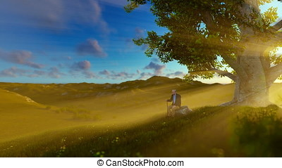 Grandfather on green meadow, resting under a tree, sunrise