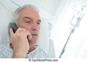 grandfather on the phone at hospital