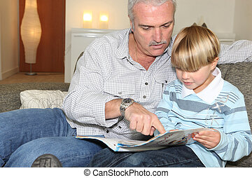 Grandfather reading a story