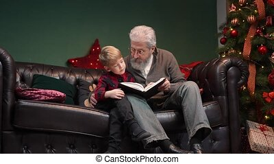Grandfather reads a fairy tale to his grandson before bedtime. Elegant gray haired man with a little boy is sitting on a sofa in a decorated room near a glowing Christmas tree. Family vacation concept. Christmas Eve, happy childhood. Slow motion.