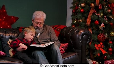 Grandfather reads a fairy tale to his sleeping grandson. An elegant gray haired man with a little boy is sitting on a sofa in a decorated room near a glowing Christmas tree. Close up. Slow motion.