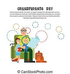 Grandfather Reeding To Grandchildren Happy Grandparents Day...