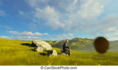 Grandfather resting on green meadow at morning, panning