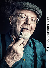 grandfather smokes a pipe