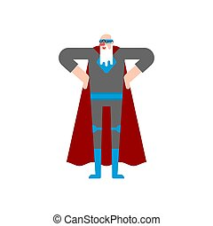 Grandfather superhero. Super Grandpa. Superpowers old man. Cartoon style vector