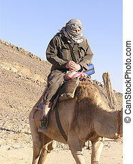 Grandfather tourist on camel 3, Sahara, Egypt, Africa