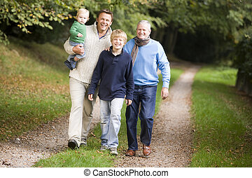 Grandfather walking with son and grandson along woodland...