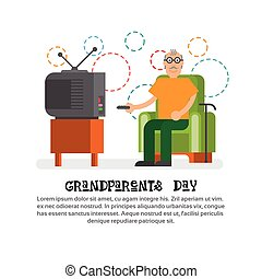 Grandfather Watching Tv Happy Grandparents Day Greeting Card Banner