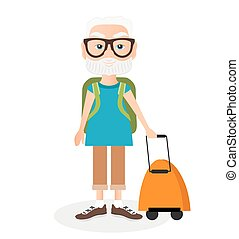 Grandfather with a packsack travel. Travelling with the knapsack. Vector illustration eps 10 isolated on white background. Flat cartoon style.