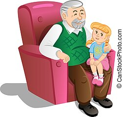 Grandfather with granddaughter. Illustration in cartoon...