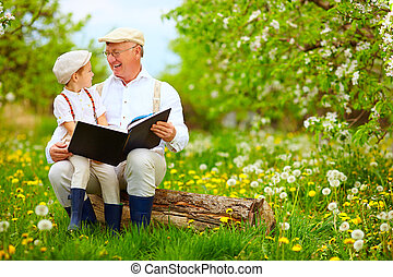 grandfather with grandson reading book in spring garden