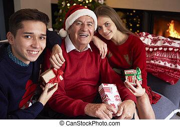 Grandfather with his beloved grandchildren