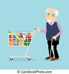 Grandfather with shopping cart with groceries - Grandfather...