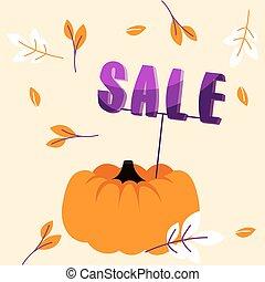 grandi foglie, vendita, autunno, cadere, vacanza, bandiera, template., zucca