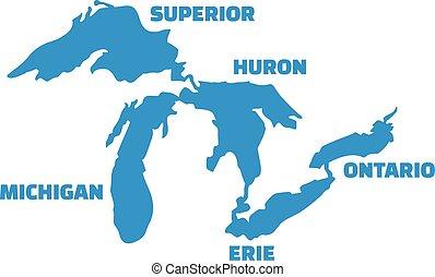 grandi laghi, silhouette, con, nomi