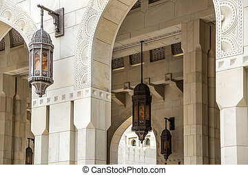 grandiose, qaboos, mosquée, détails, sultan