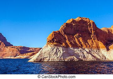 Grandiose sandstone cliffs - Tour on a tourist boat on an ...