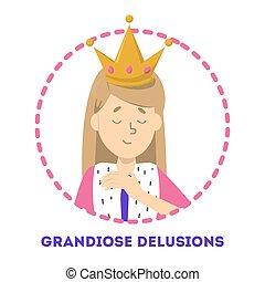 grandiose, schizophrénie, bipolaire, delucion, désordre,...