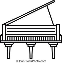 grandioso, clássicas, esboço, piano, estilo, ícone