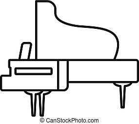 grandioso, concerto, esboço, piano, estilo, ícone