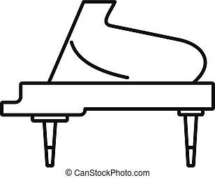 grandioso, esboço, piano, estilo, ícone, instrumento