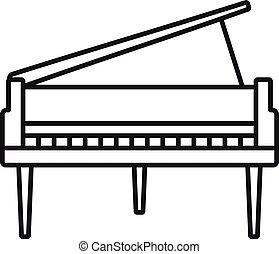 grandioso, esboço, piano, estilo, ícone
