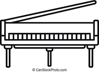 grandioso, estilo, esboço, piano, abertos, ícone