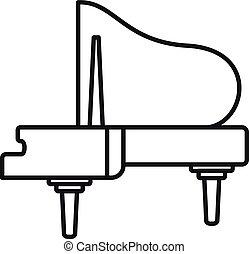 grandioso, estilo, esboço, piano, música, ícone