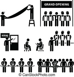 grandioso, negócio, abertura