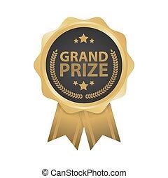grandioso, prêmio, ganhe, ouro, emblemas, vetorial,...