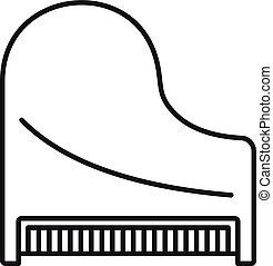 grandioso, topo, clássicas, esboço, piano, estilo, ícone, vista