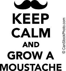 grandir, moustache, calme, garder