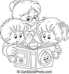 Grandma and grandchildren reading - Grandmother is reading a...