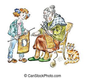 Grandma and granddaughter knitting - Grandma teaching her...