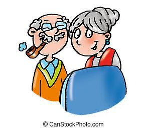 Grandma and Grandpa watch TV, relax