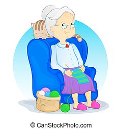 grandma and knitting - grandmother sitting in armchair and...