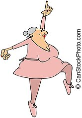 Grandma Ballerina - This illustration depicts an elderly...