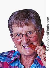 Grandma enjoys smoked sausage