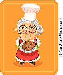 Grandma Holding Roasted Turkey Vector Illustration