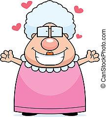 A happy cartoon grandma ready to give a hug.