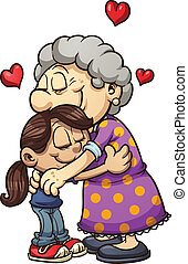 Grandma hug - Girl hugging her grandmother. Vector clip art...