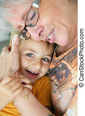Grandma hugging granddaughter