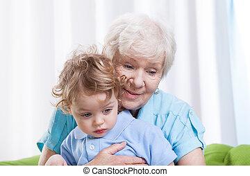Grandma huging grandchild