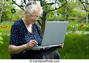 Grandma in garden - Free time in garden